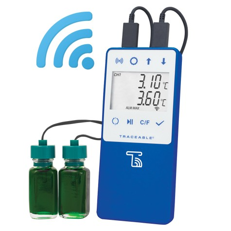 Traceable Wi-Fi Data Logging Refrigerator/Freezer Thermometer Compatible with TraceableLIVE® Cloud Service; 2 Disconnect Bottle Probes