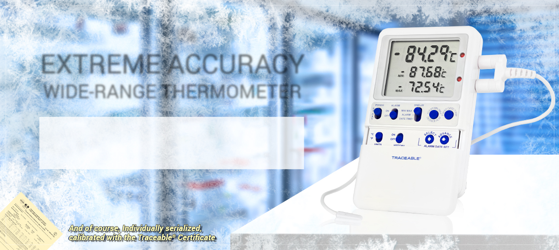 6411 Traceable® Platinum High-Accuracy Freezer Thermometer. ULT freezers. Datalogging. memory. Min/Max.