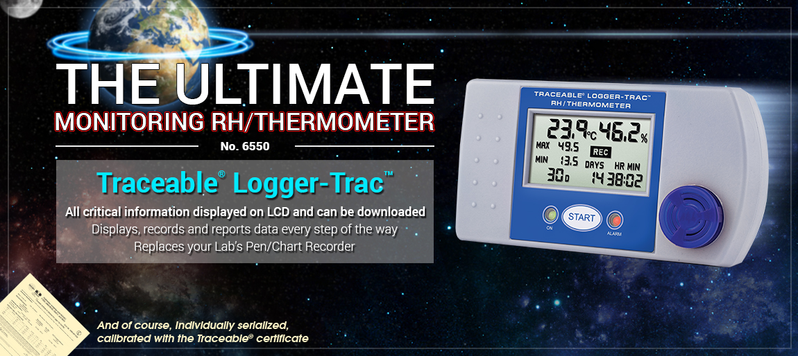 6550 Traceable® Logger-Trac™ RH/Temperature, monitor, transportation, refrigerator, freezer,