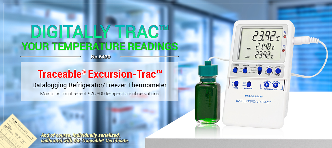 6430 Traceable® Excursion-Trac™ USB Datalogging Refrigerator/ Freezer Thermometer